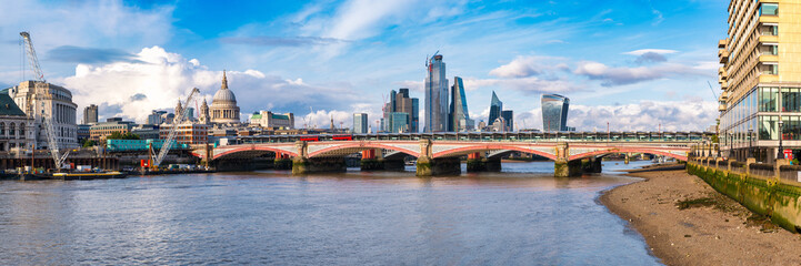 Panoramic view of London with Blackfriars Bridge, the City and the river Thames Wall mural