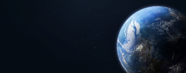 Earth planet in dark outer space on background. Wide high resolution sci-fi wallpaper. Elements of this image furnished by NASA