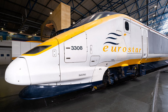 Eurostar Class 373 trains at the National Railway Museum in York