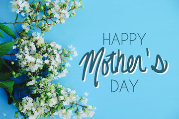 Spoed Fotobehang Bomen Mothers day flowers on blue background, blossom from tree for holiday celebration graphic with text.