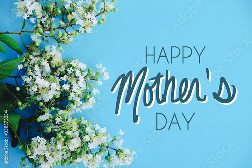 Mothers day flowers on blue background, blossom from tree for holiday celebration graphic with text.