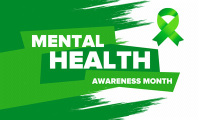 Fototapeta Mental Health Awareness Month in May. Annual campaign in United States. Raising awareness of mental health. Control and protection. Prevention campaign. Medical health care design. Vector illustration obraz
