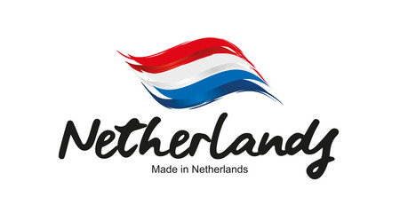 Made in Netherlands handwritten flag ribbon typography lettering logo label banner