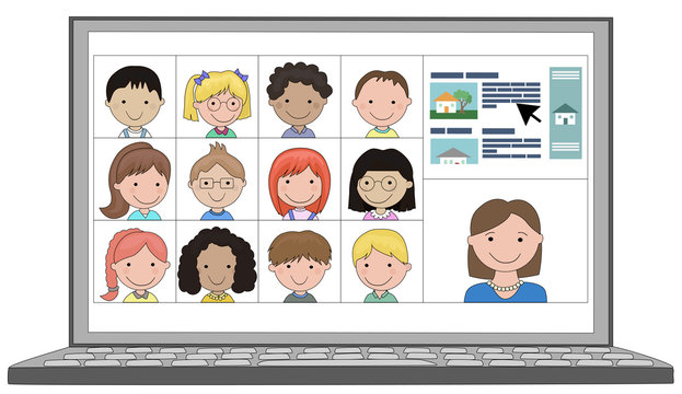 Multi ethnic Class of children distance learn online remotely with teacher