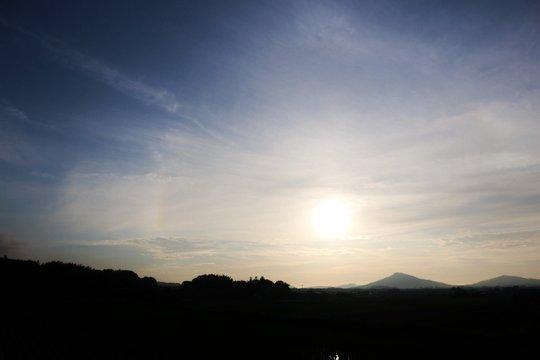 Silhouette Of Mountain Range At Dusk