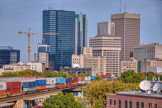 Downtown Winnipeg, Manitoba during early Autumn