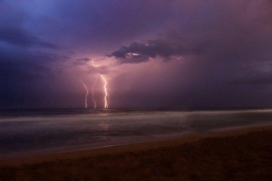 Lightning Bolts On Sea