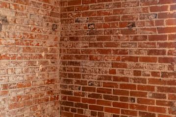 Interior shot of a brick wall corner