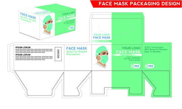 Disposable Face Mask Surgical Medical Dental Industrial Box Packaging Design Vector Illustration.