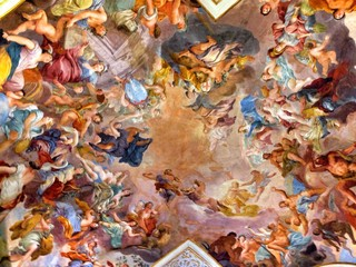 Foto op Textielframe Artistiek mon. Baroque Style Painted Ceiling