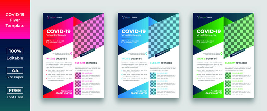 Covid 19 coronavirus virtual conference flyer