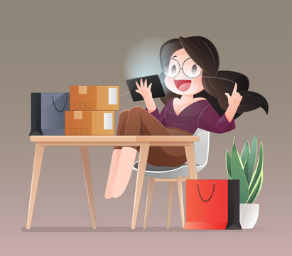 Online shopping. Cartoon shopper women wearing pink is buying online with a notebook computer and credit card stand in a home office. Working from home concept. Flat character illustration design.