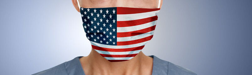 USA american flag print on face mask protective PPE doctor panoramic banner. Fotomurales