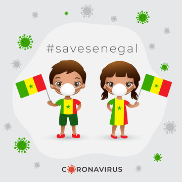 Set of boy and girl wearing surgical mask preventing coronavirus with national flag : Vector Illustration
