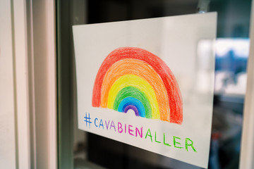 Covid-19 Rainbow window drawing to spread positivity in community for coronavirus stay home self isolation with hashtag #cavabienaller, ca va bien aller social media sharing. Kids drawing. Fotomurales