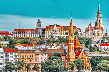 Church of St. Matthias ,Fisherman's Bastion,Calvinist Church shore view's of the Danube .Budapest.Hungary Fototapete