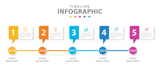 Infographic template for business. 5 steps Modern Timeline diagram with line graph, presentation vector infographic.