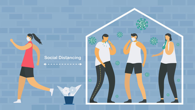 Social distancing. You have to stay home and meet doctor when you sick. Save life from new coronavirus outbreak. Vector illustration designs in flat style.