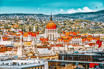 Wall Mural - View of Budapest and Parliament from Bell Tower of St. Stephen Basilica.