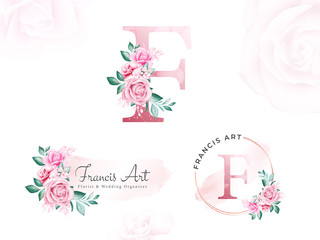 Watercolor gold floral logo set for initial E of peach roses and leaves. Premade flowers badge for branding
