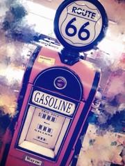 Foto op Plexiglas Route 66 Petrol Bowser On Route 66