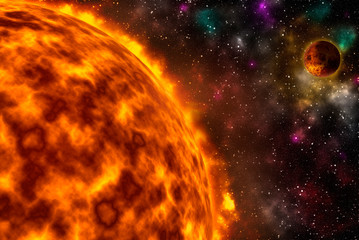 Realistic image of the sun star burning with fiery intensity and planet Wall mural