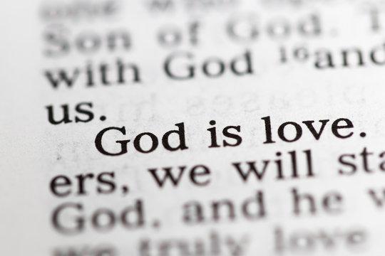 Biblical text. God is love. Christian concept