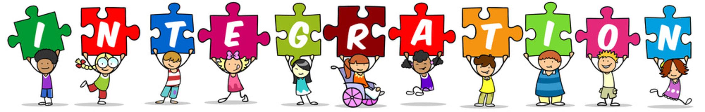 Gruppe Kinder zusammen als Integration Konzept