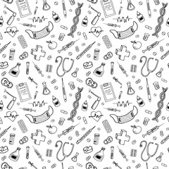 Medical doodle pattern. Healhtcare and pharmacy hand drawn objects, symbols and items on transparent backdrop. Seamless vector background.