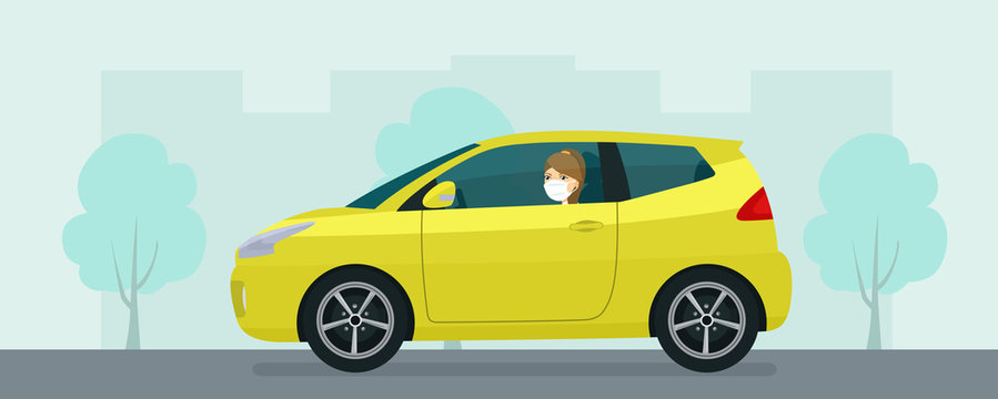 Compact hatchback car with a young woman in medical mask driving on a background of abstract cityscape. Vector flat style illustration.