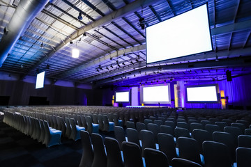 empty chairs in large Conference hall for Corporate Convention or Lecture Fotomurales