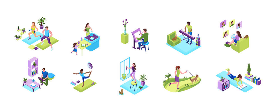 Stay and work from home concept set, quarantine isolation activities, sports training people, man playing music, girl baking with family, doing yoga poses, clean up window, video chat with friends