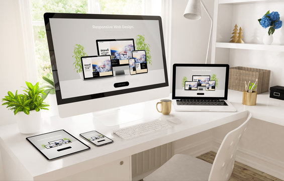 responsive devices on home office setup