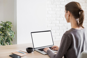 Young woman working in office. Student girl using laptop computer at home. Online meeting, work, studying from home, freelance, online learning, distance education concept. Blank empty monitor screen