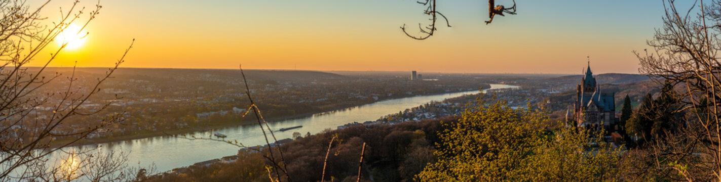 Königswinter, Bonn, panorama, städte, sonnenuntergang, siebengebirge, rhein, fluss, wasser, aussichtspunkt, aussicht, drachenfels, schloss, drachenburg, burg