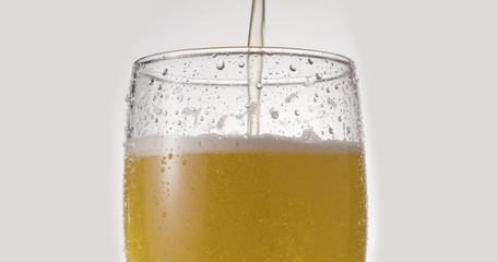 Wall Mural - Glass of light beer on a white background. A jet slowly fills the glass with beer, causing abundant bubbles and foam. Clockwise rotation.
