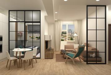 Interior design of a compact apartment 3D render Fototapete