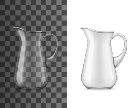 Glass jug or pitcher, vector 3D realistic tableware mockup. Water, juice or milk pitcher with handle and spout, table glassware or drinkware crockery isolated on background. Drinks and beverages jug