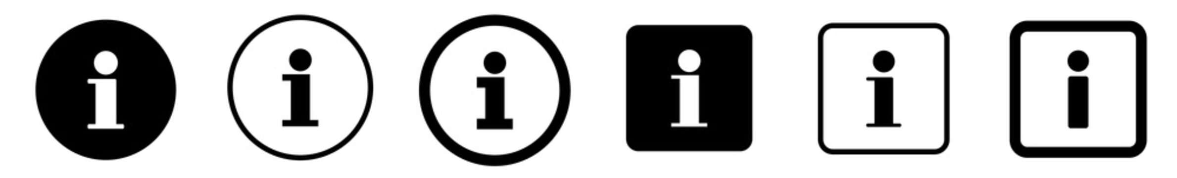 Info Point Icon Black | Information Illustration | i Point Symbol | Help Logo | Hint Sign | Isolated | Variations
