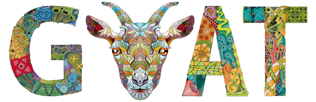 Word GOAT with the head of an animal. Vector zentangle object for decoration