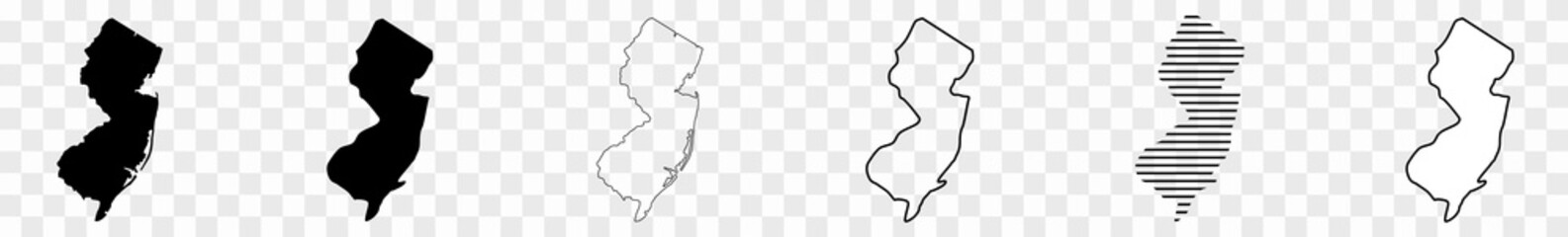New Jersey Map Black | State Border | United States | US America | Transparent Isolated | Variations