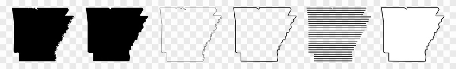 Arkansas Map Black | State Border | United States | US America | Transparent Isolated | Variations Fotomurales