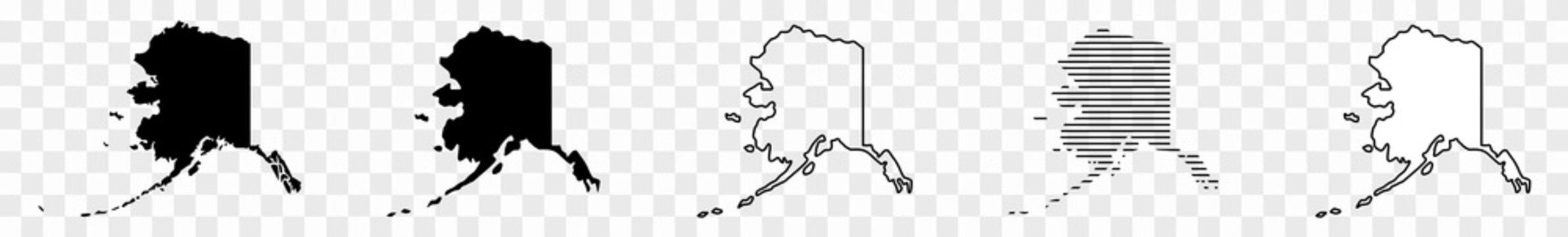 Alaska Map Black | State Border | United States | US America | Transparent Isolated | Variations