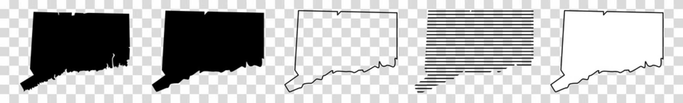 Connecticut Map Black | State Border | United States | US America | Transparent Isolated | Variations