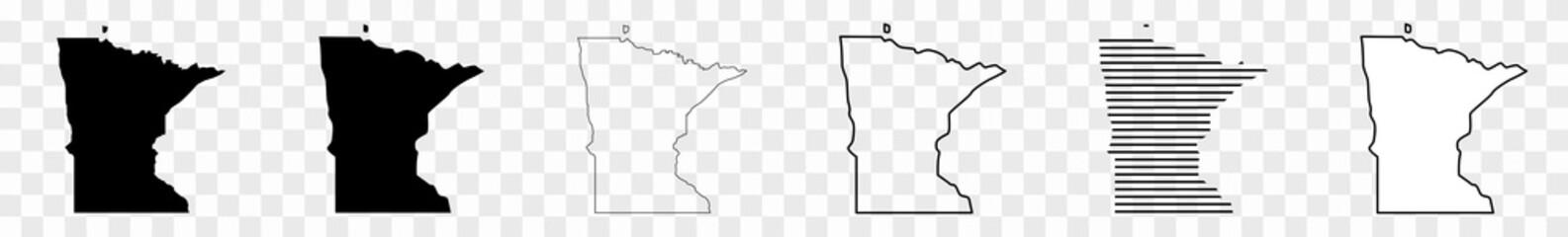 Minnesota Map Black | State Border | United States | US America | Transparent Isolated | Variations