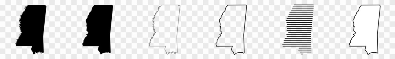 Mississippi Map Black | State Border | United States | US America | Transparent Isolated | Variations