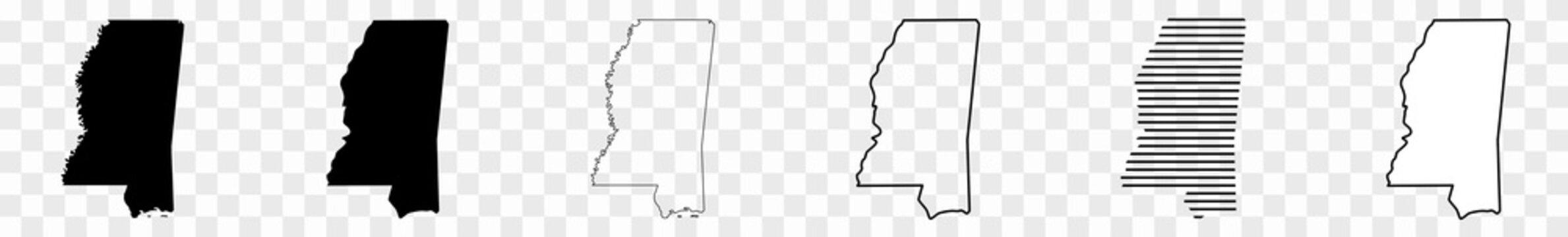 Mississippi Map Black | State Border | United States | US America | Transparent Isolated | Variations