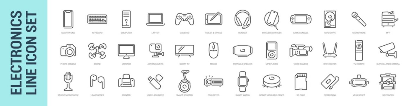 Devices icon set. Vector isolated computer phone smart electronics