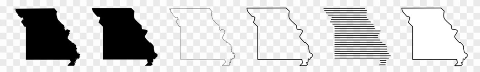Missouri Map Black | State Border | United States | US America | Transparent Isolated | Variations