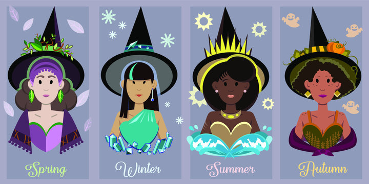 Vector illustration of female witches represents four seasons of the Wiccan year. Set of multinational women portraits in magical style.